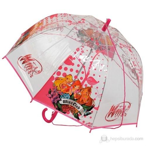 Winx Şeffaf Büyük Boy Şemsiye (Şeffaf Pembe)(Kız Öğrenci)