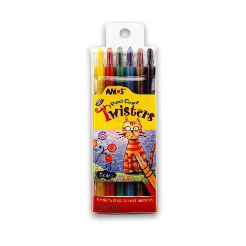 Amos Twisters İnce Kalem Tipi Mum Boya 6 Renk RC6PST eol