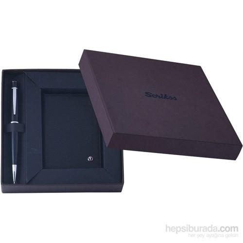 Scrikks DR 2204-1/2 Klasik Kredi Kartlık Siyah + 62 Tükenmez Kalem Siyah Set