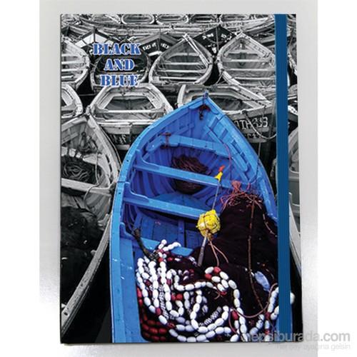 Liz 14x20 Black Blue Seri Ofset Kapak 96.Yp. Lastikli Kareli Ivory Defter