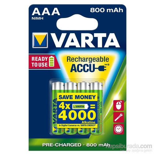 Varta Rechargeable Accu Aaa / Hr03 Ready To Use 800Mah Bls 4 56703101404