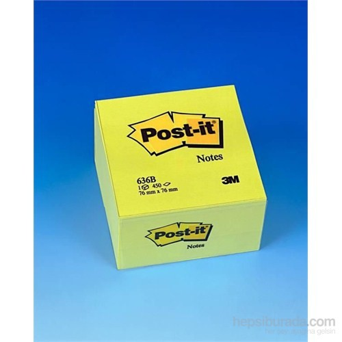 Post-it® Küp Not, Sari, 450 yaprak, 76x76mm