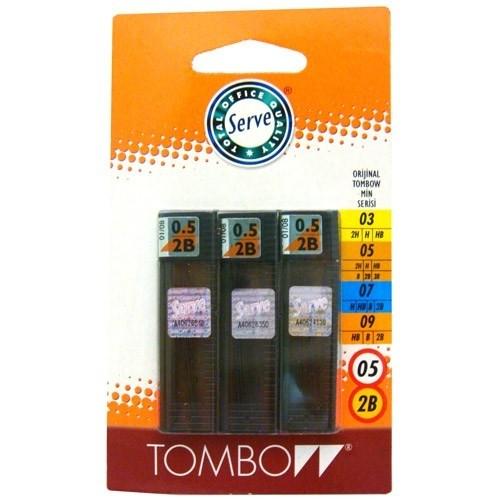 Tombow Kalem ucu 0,5 mm 2B 3'lü Blister
