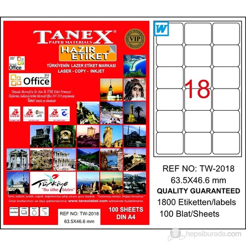 Tanex TW-2018 63,5x46,6 mm Laser Etiket 100 Ad.
