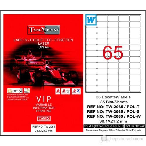 Tanex TW-2065 38,1x21,2 mm Silver (Gümüş) Laser Etiket 25 Ad.