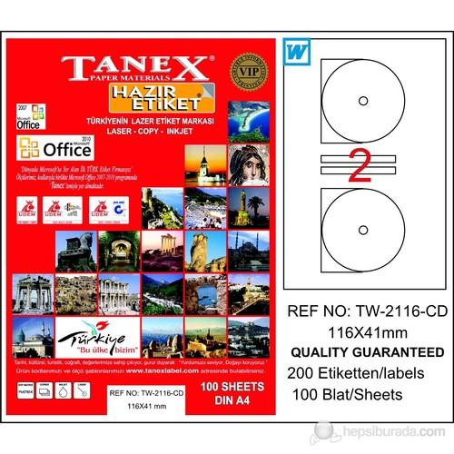 Tanex TW-2116 116x41 mm Laser Etiket 100 Ad.
