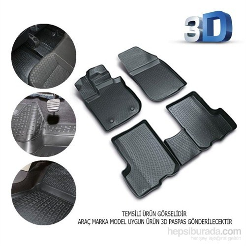 Volkswagen Caddy 2004 Sonrası 3D Kauçuk Paspas Siyah