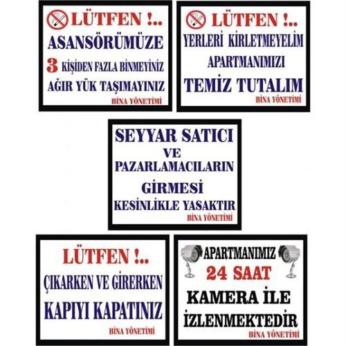 Sticker Masters Apartman Uyarı Levhaları Set