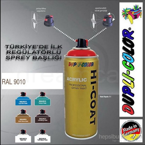 Dupli-Color Hi-Coat Ral 9010 Mat Beyaz Akrilik Sprey Boya 400 Ml. Made in Germany 406256