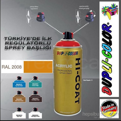 Dupli-Color Hi-Coat Ral 2008 Parlak Koyu Turuncu Akrilik Sprey Boya 400 Ml. Made in Germany 406522