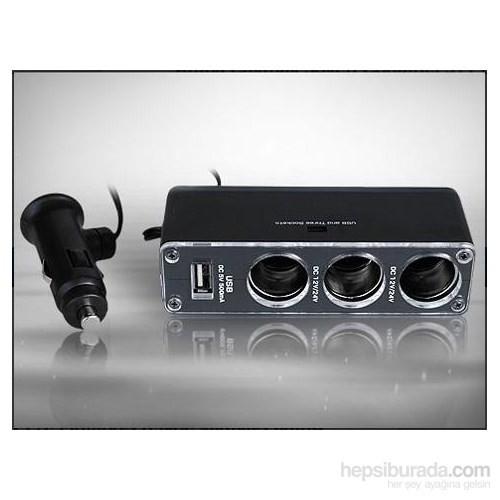 AutoCet 3 lü Çakmak Soketi ve USB Çoğaltıcı 3438a