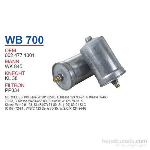 Wunder MERCEDES 129-140 KASA 103 MOTOR Benzin Filtresi OEM NO:24771301