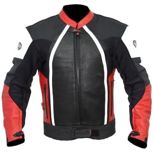 Prosev 8128 Deri Motosiklet Montu (Kırmızı-Siyah)