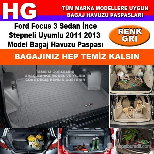 Focus 3 Sedan İnce Stepne 2011 2013 Gri Bagaj Havuzu Paspası 38793