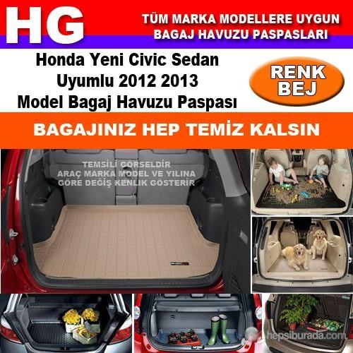 Honda Civic Sedan 2012 2013 Bej Bagaj Havuzu Paspası 38825
