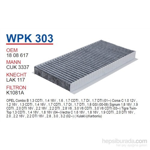 Wunder OPEL CORSA C - VECTRA C (KARBONLU) Polen Filtresi OEM NO: 1808617