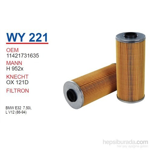 Wunder BMW 7 SERİE E32 M70 Yağ Filtresi OEM NO:11421731635