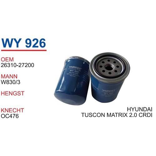 Wunder Hyundaı Tucson 2.0 Crdı Yağ Filtresi Oem No:26310-27200