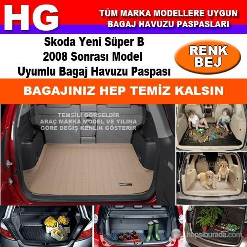 Skoda Yeni Süper B 2008 Sonrası Bej Bagaj Havuzu Paspası 39086