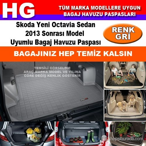 Skoda Yeni Octavia 2013 Sonrası Gri Bagaj Havuzu Paspası 39104