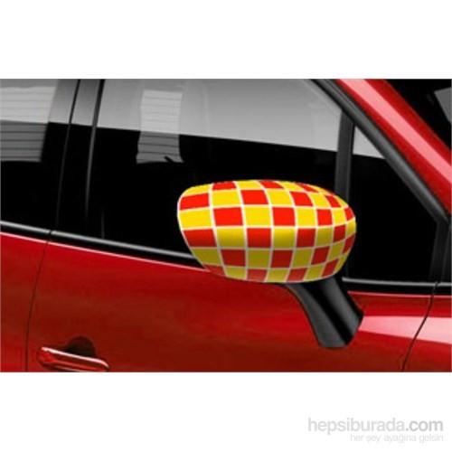 Otokulak - Otomobil Ayna Kılıfı Sarı-Kırmızı Damalı