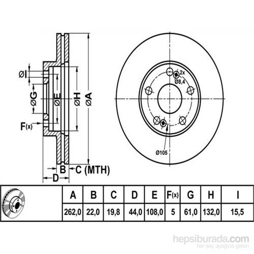 Bosch - Fren Diski Ön [262 / 22-19,8 Mm], Hava Kanallı (Renault Safrane 2.0I 16V) - Bsc 0 986 478 864
