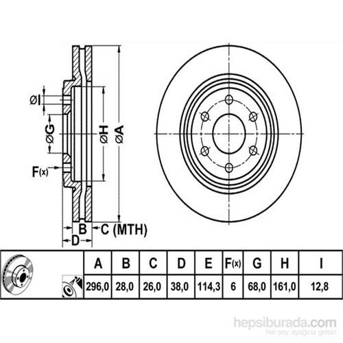 Bosch - Fren Diski Ön [295,5 / 28-26 Mm] (Nissan Navara [D40]) - Bsc 0 986 479 356
