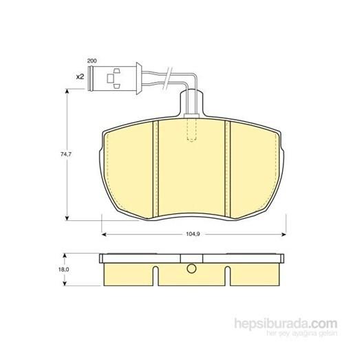 Bosch - Fren Balatası Ön (Ford Transıt (11/85-09/92) [Wva 20359] - [ 104,9X74,7X18 Mm ] - İkaz Kablolu - Bsc 0 986 Tb2 060