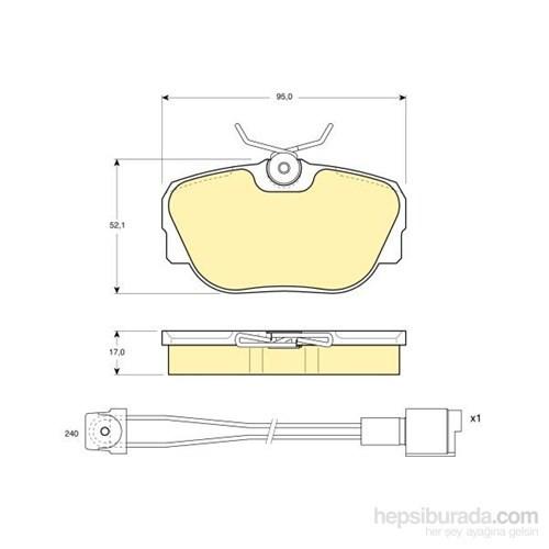 Bosch - Fren Balatası Ön (Bmw 3 Serısı (E30) (09/82-01/92) [Wva 21173] - [ 95X52,1X17 Mm ] - - Bsc 0 986 Tb2 163