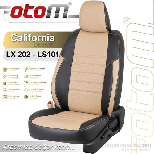 Otom Dacıa Logan Sw 5 Kişi 2004-2012 California Design Araca Özel Deri Koltuk Kılıfı Bej-101