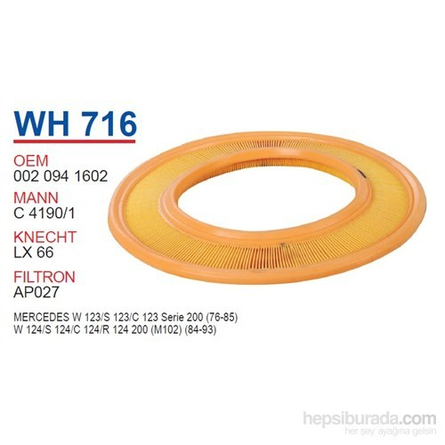 Wunder MERCEDES 123 KASA 200 (80-85 ) - 124 KASA 200 (85-90) KARB. Hava Filtresi OEM NO:20941602