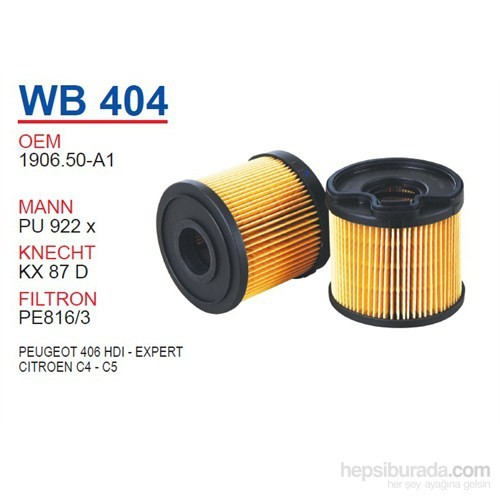 Wunder PEUGEOT 406 HDI - EXPERT Mazot Filtresi OEM NO:1906.50-A1