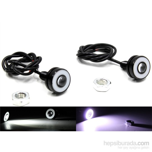 Modacar Motorsiklet Cob Beyaz Halkalı Beyaz Projektör Mercek Lamba 104715