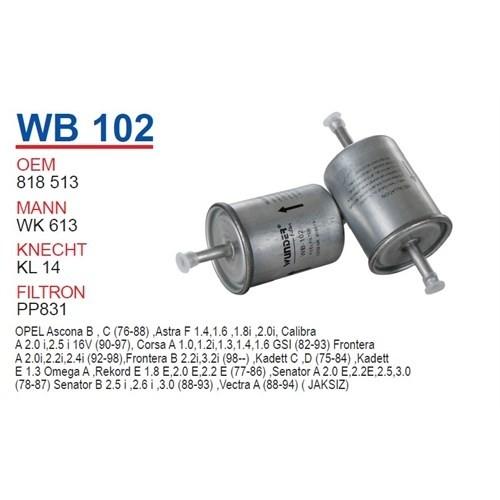 Wunder OPEL Corsa TIRNAKSIZ Tip Benzin Filtresi OEM NO: 818513