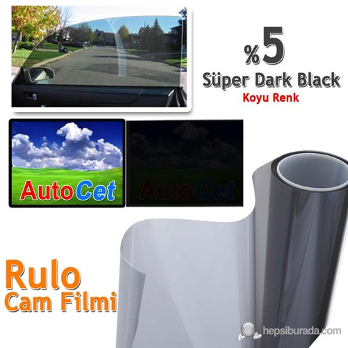 Autocet 75 cm 20 MT Renkli Rulo Cam Filmi Koyu Siyah % 5 Super Dark Black (MADE IN KOREA)