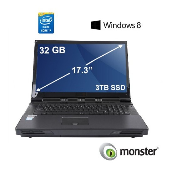 "Monster P570WM-WS04 Intel Xeon E5-2687W 3.1GHz / 3.8GHz 32GB 3TB SSD 17.3"" Taşınabilir Bilgisayar"