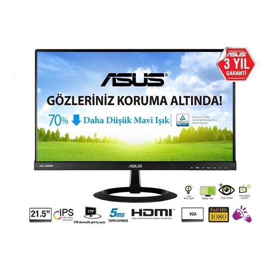 "Asus VX229H 21.5"" 5ms (Analog+2xHDMI) Full HD IPS LED Monitör"