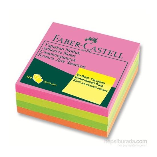 Faber-Castell Yapışkan Notluk 75x75mm Karışık Fosforlu Renkli Küp