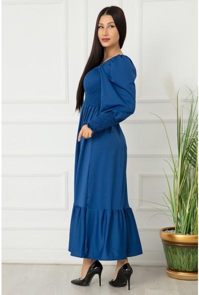 Kalopya Bayan Göğüs ve Kollar Gipeli Krep Elbise 2752