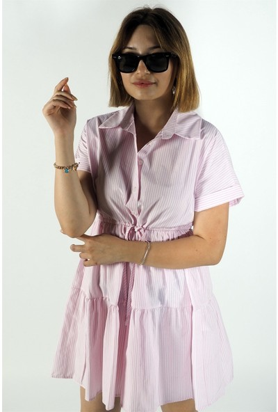 Gömlek Yaka Duble Çizgili Elbise Pembe
