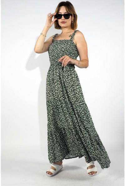 Ince Askılı Gipeli Çiçekli Elbise Yeşil