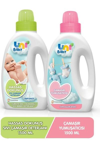Uni Baby Sensitive Bebek Çamaşır Deterjanı 1500 ml + Bebek Çamaşır Yumuşatıcısı 1500 ml