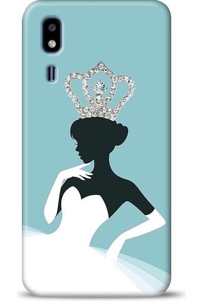 Eiroo Samsung Galaxy A2 Core Crystal Queen Taşlı Baskılı Tasarım Kılıf