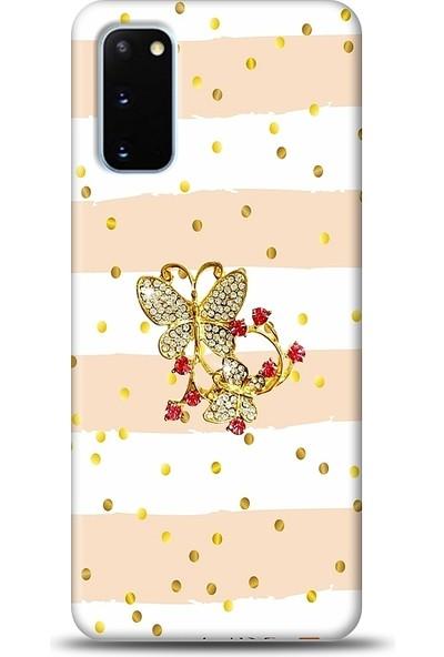 Eiroo Samsung Galaxy S20 Gold Butterfly Taşlı Baskılı Tasarım Kılıf