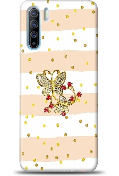 Eiroo Oppo Reno3 Gold Butterfly Taşlı Baskılı Tasarım Kılıf