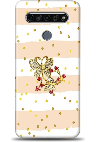 Eiroo Lg K61 Gold Butterfly Taşlı Baskılı Tasarım Kılıf