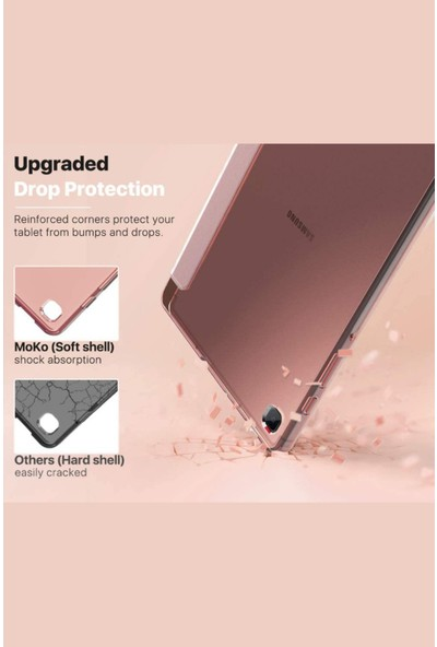 Fibaks Samsung Galaxy S6 Lite Kılıf + Ekran Koruyucu + Kalem SM-P610 SM-P615 SM-P617 Dikey Yatay Stand Olabilen Arkası Yumuşak Kapaklı Silikon 360 Tam Koruma