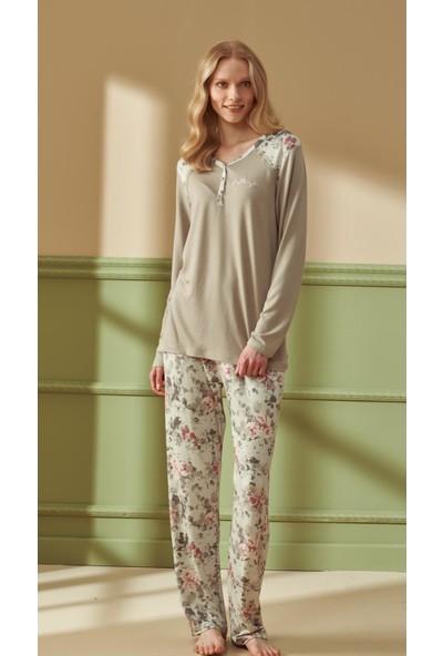Feyza 4284 Kadın Büyük Beden Uzun Kol Gri Pijama Takımı