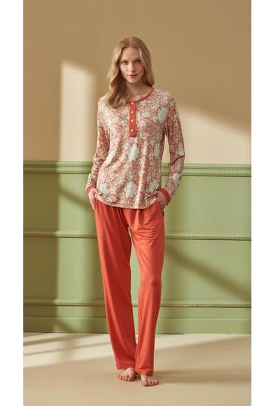 Feyza 4287 Kadın Büyük Beden Uzun Kol Kiremit Pijama Takımı