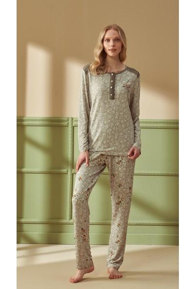 Feyza 4292 Kadın Uzun Kol Yeşil Pijama Takımı